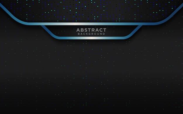 Realistico sfondo nero di lusso con strati sovrapposti blu scuro e glitter argento