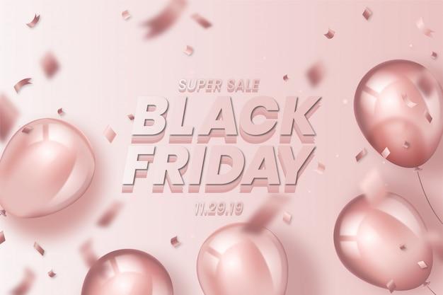 Realistico sfondo nero di venerdì con palloncini