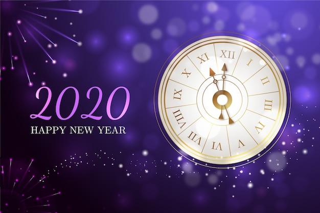 Realistico sfondo orologio nuovo anno 2020