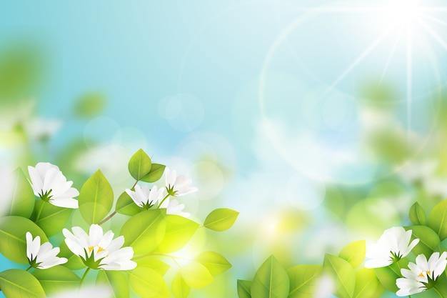 Realistico sfondo sfocato primavera