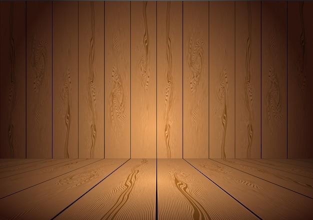 Realistico sfondo stanza di legno marrone