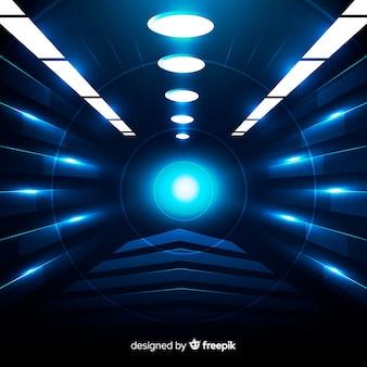 Realistico sfondo tunnel tecnologico luce