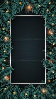 Realistico sfondo verticale in legno con cornice di rami di albero di natale.