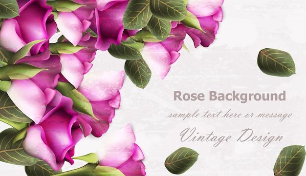 Realistico sfondo vintage rose
