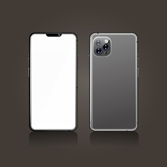 Realistico smartphone grigio anteriore e posteriore