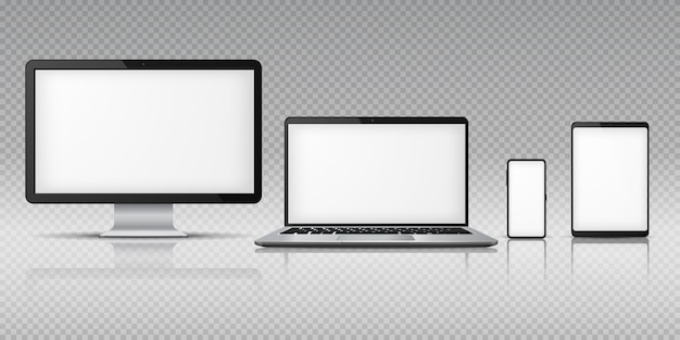Realistico smartphone per laptop computer. gadget per tablet, dispositivi mobili per pc portatili. monitorare il modello di visualizzazione dello schermo