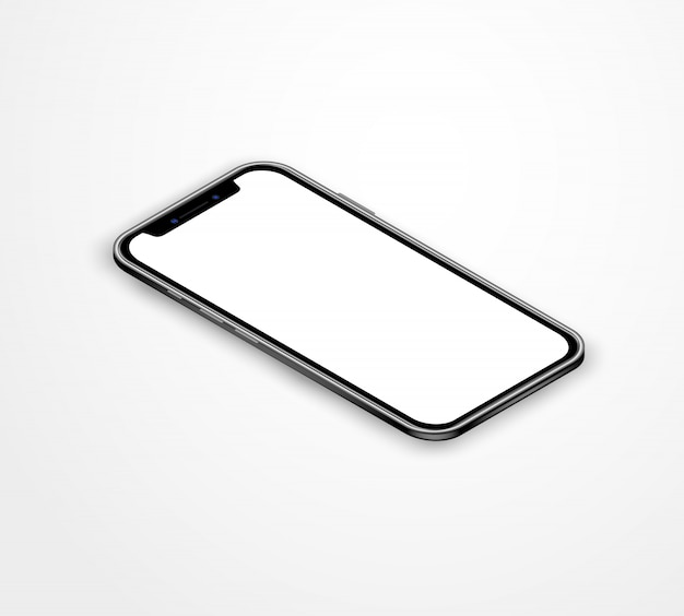 Realistico smartphone vuoto isometrico in vista prospettica. app per dispositivi mobili illustrazione vettoriale