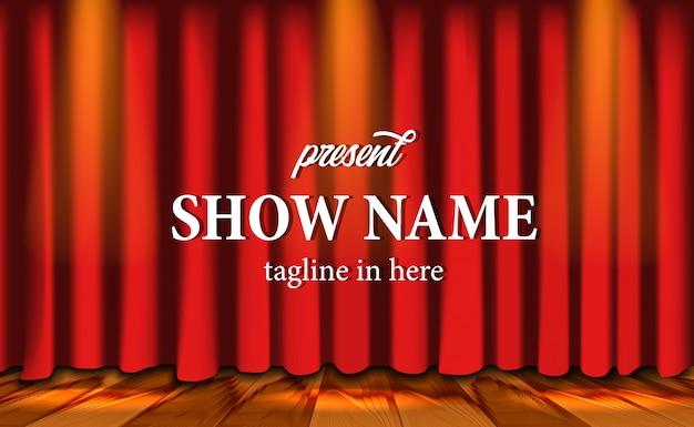 Realistico spettacolo sullo sfondo del sipario rosso a teatro con pavimento in legno e lampi