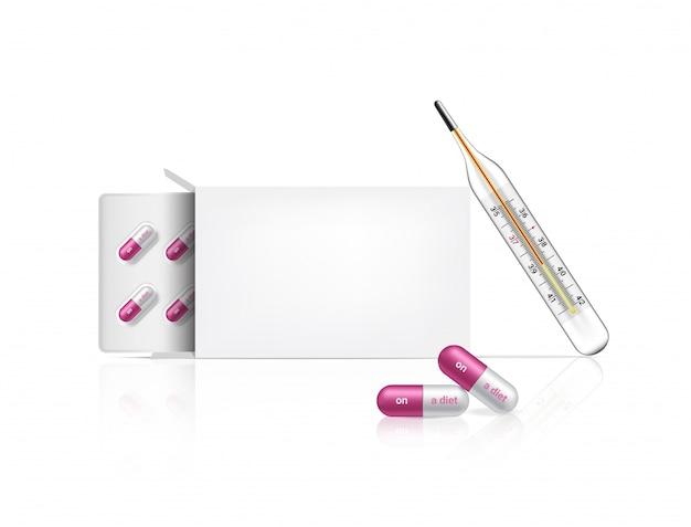 Realistico sulla medicina della pillola della capsula di dieta su bianco
