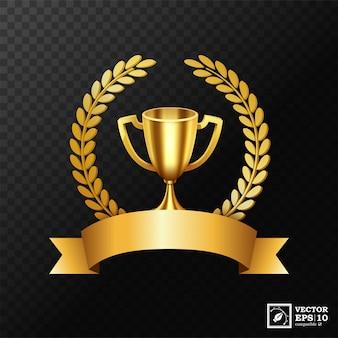Realistico trofeo d'oro con corona d'alloro d'oro