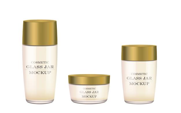 Realistico vaso di vetro bianco con coperchio in plastica oro per cosmetici