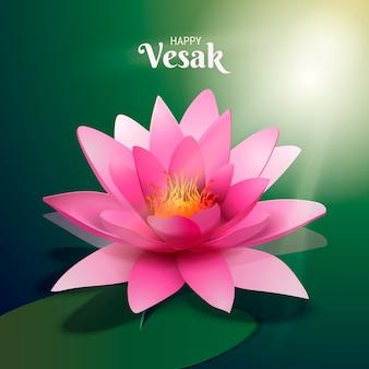 Realistico vesak bellissimo fiore di loto rosa