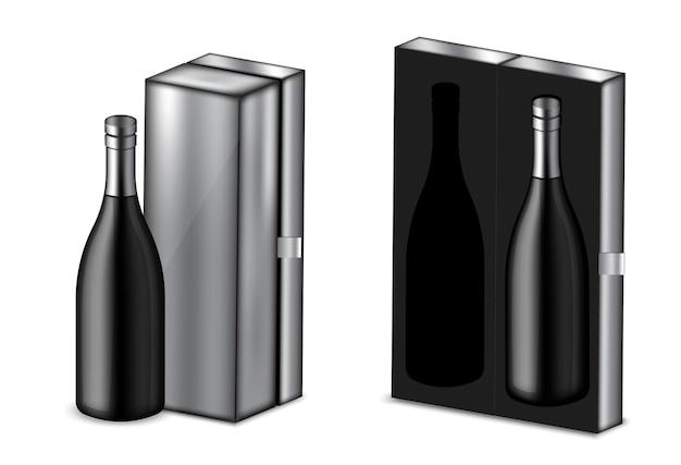 Realistico vino alcol bottiglia nera e scatola metallica