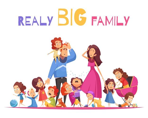 Really grande famiglia illustrazione vettoriale con bambini agili e piangenti felici e personaggi dei cartoni animati genitori tristi