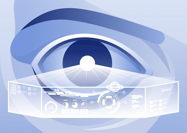 Realtà aumentata e futuro concetto di tecnologia biotech. ologramma futuristico sopra l'occhio guardando la grafica virtuale.