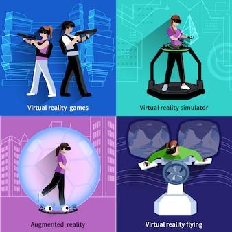 Realtà aumentata virtuale 4 icone quadrate