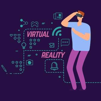 Realtà virtuale con icone sociali linea e ragazzo personaggio dei cartoni animati