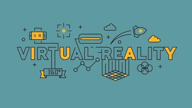 Realtà virtuale design a linea piatta