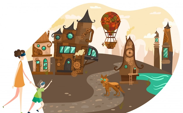 Realtà virtuale, madre e figlia che indossano i vetri di vr e che guardano la vecchia città di tecnologia di steampunk con l'illustrazione delle creature di favola.