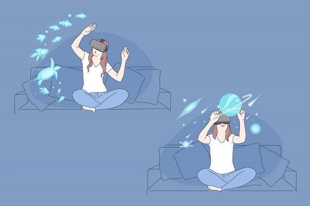 Realtà virtuale, tecnologia ar, concetto di esperienza immersiva