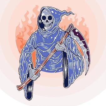 Reaper sorridente, disegnato a mano