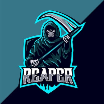Reaper teschio mascotte esport logo design