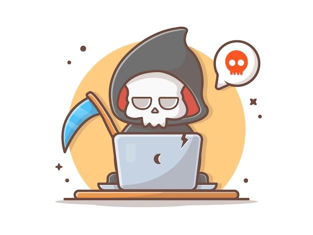 Reaper torvo usando l'illustrazione dell'icona di vettore del computer portatile