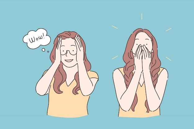 Reazione emotiva, espressione di stupore, concetto meravigliato