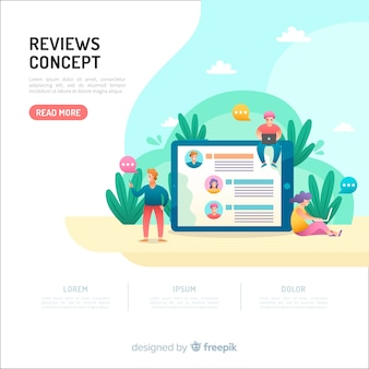 Recensioni concetto per landing page