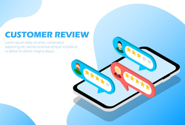 Recensioni dei clienti. risposta. stelle. infografica per pagina web. isometrico.