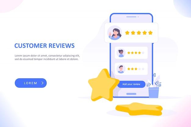 Recensioni dei clienti sullo schermo dello smartphone