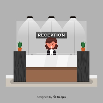Reception dell'hotel moderna con design piatto