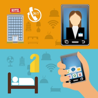 Receptionist di smartphone e hotel con progettazione di app digitali
