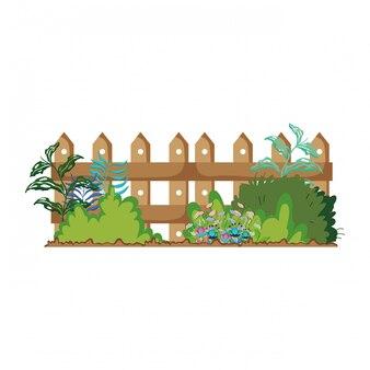 Recinzione in legno con scena di fiori da giardino