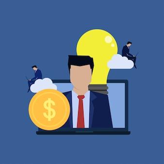 Reclutamento di cloud online di personalità di uomo d'affari.