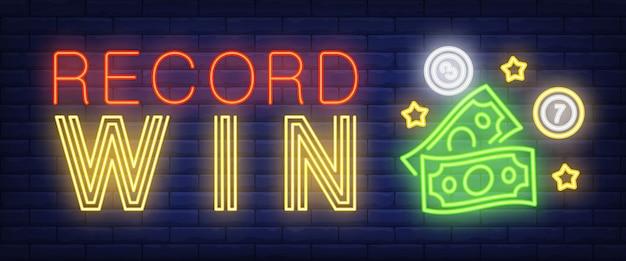 Record vinci segno al neon