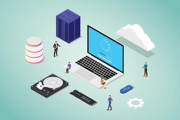 Recupero dei dati da un database di server di settore danneggiato con hardware e strumenti con team di persone e moderno stile piatto isometrico