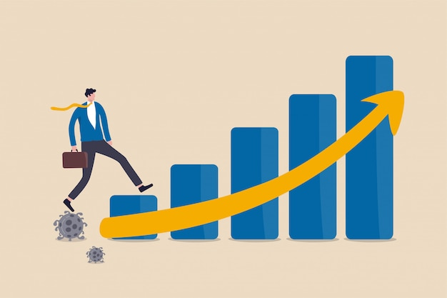 Recupero economico dopo la crisi covid-19 di coronavirus, concetto post pandemico, investitore uomo d'affari di lavoro o leader aziendale che cammina sul patogeno del coronavirus per far crescere la freccia economica dell'istogramma.