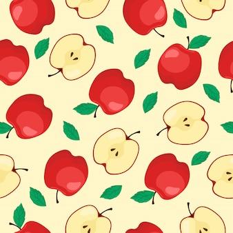 Red apple fruit seamless pattern