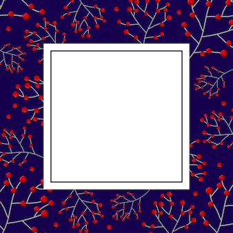 Red berry christmas on navy blue banner card