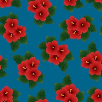 Red hibiscus syriacus - su sfondo blu indaco.
