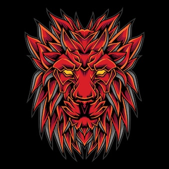 Red lion head logo illustrazione