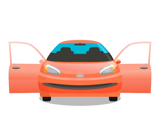 Red passenger car, sedan vector color illustration
