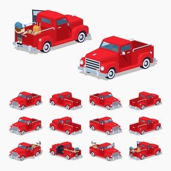 Red pickup retrò. illustrazione isometrica di vettore lowpoly 3d.