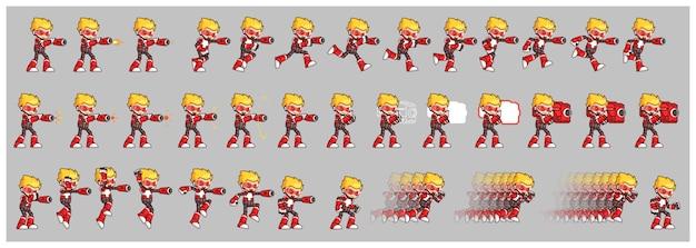 Red robot attack game sprites
