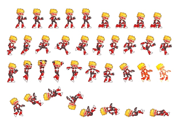 Red robot game sprites