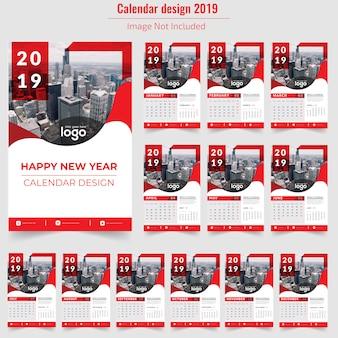 Red wall calendar 2019