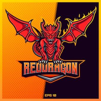 Red western esportazione e sport mascotte logo design nel moderno concetto di illustrazione per la stampa di badge, emblema e sete di squadra. illustrazione occidentale rossa del drago sul fondo rosso dell'oro. illustrazione