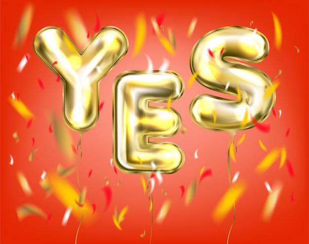 Red yes-lettering di palloncini dorati