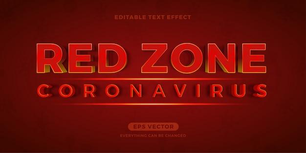 Red zone coronavirus effetto di testo modificabile